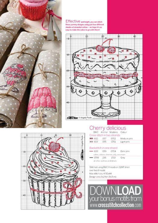 point de croix grille et couleurs de fils gateau d'anniversaire et cupcake