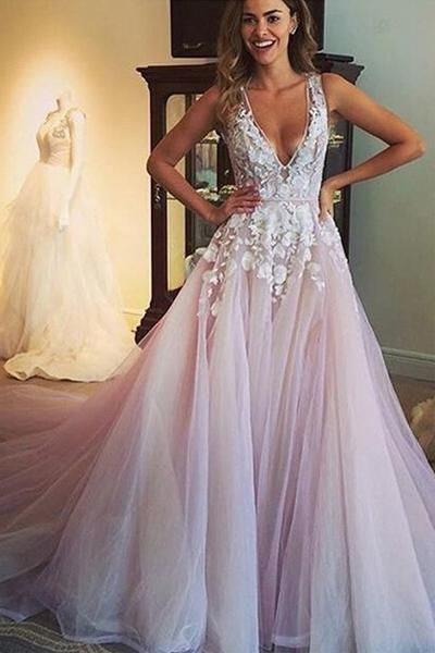 Scoop V-neck Long Wedding Dress/Prom Dress with Appliques-Pgmdress