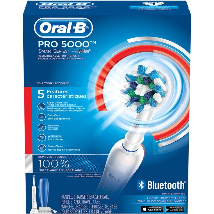 Electric Toothbrushes: Oral-B Pro 5000 Bluetooth Connectivity Electric Rechargeable Toothbrush 3757 BUY IT NOW ONLY: $67.0