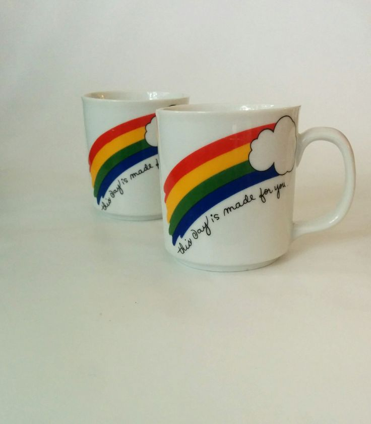 """Vintage matching rainbow mugs unicorn festive pride wedding gift love """"this day is made for you"""" by BambooBimbo on Etsy"""