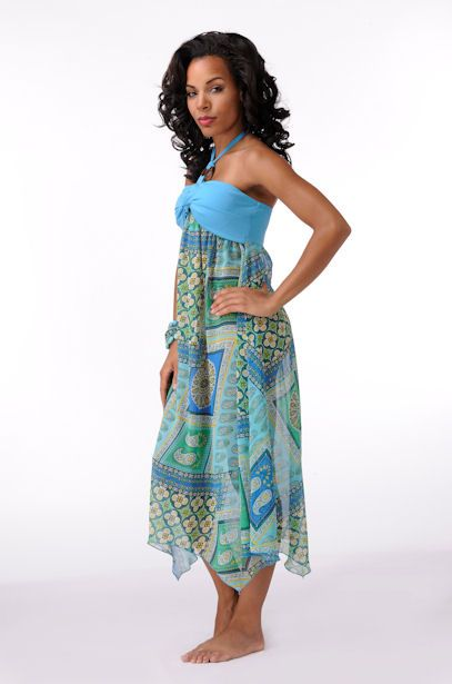 Elegantly Styled Turquoise Lined Print Dress  Price: $59.99