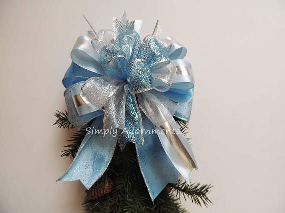 Light Blue Christmas Wreath Bow Silver Blue Tree Topper Bow Christmas Wreath Bows Blue Christmas Tree Topper Bow
