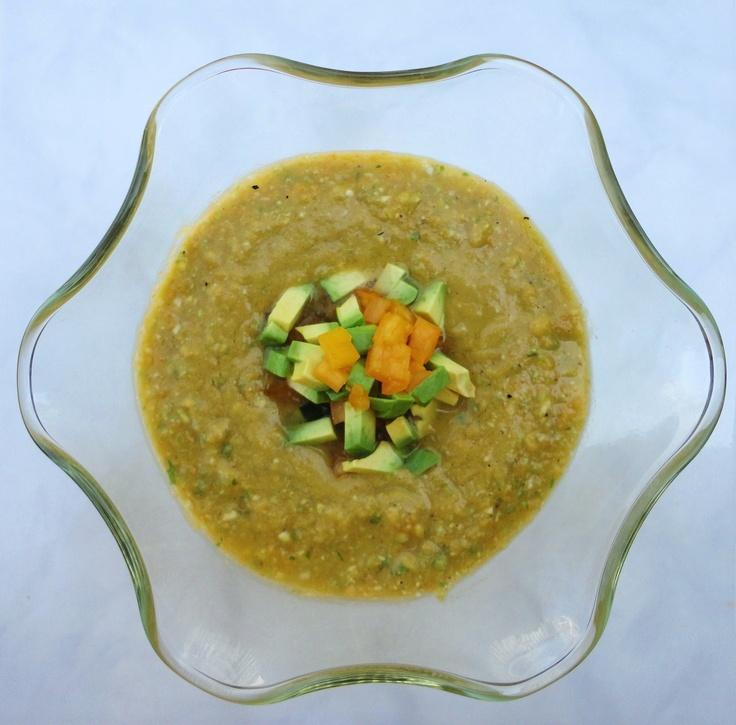 Avocado & Yellow Heirloom Tomato Gazpacho from LatinoFoodie.com