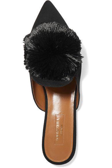 Aquazzura - Powder Puff Pompom-embellished Suede Slippers - Black - IT40.5