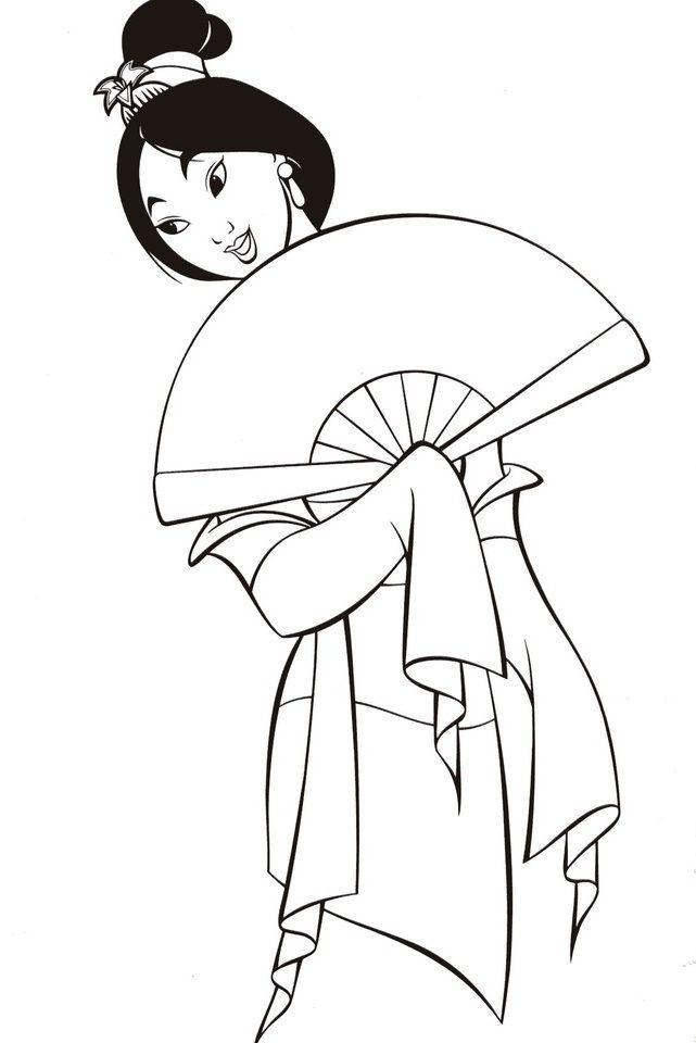 Mulan Coloring Pages Y Blank Pattern Mulan Disney