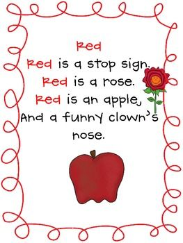 Free Color Unit Poetry Package - Mrs. Seymour's Super Stars - TeachersPayTeachers.com