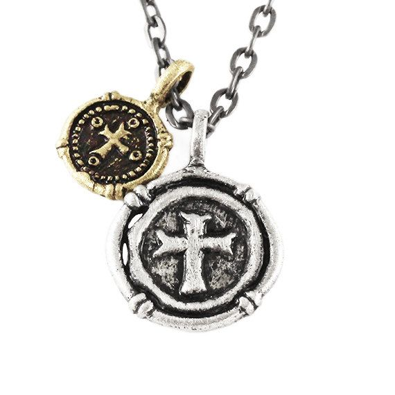 Mens Cross Necklace Silver Wax Seal Pendant Man Jewelry