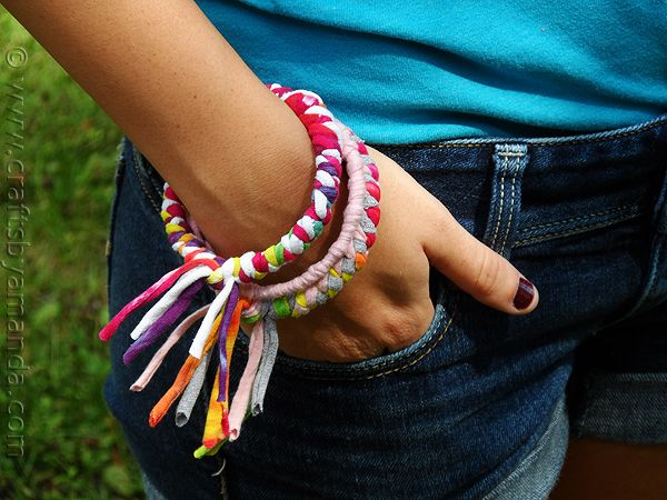 Make Bracelets from Recycled T-shirts | Crafts by Amanda