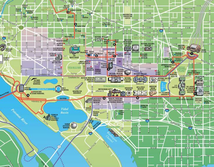 Bright image in map of washington dc attractions printable