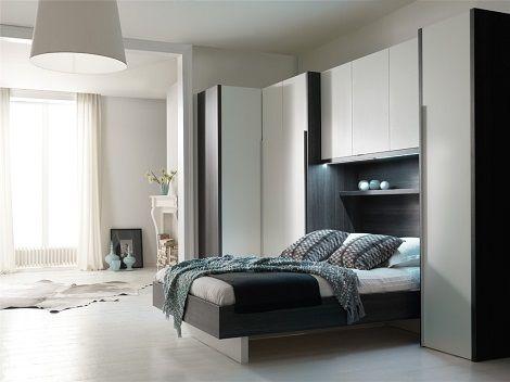 Smart cocoon 1 bed bovenkamer met kastjes hoekkast wit grijze eik 90 140 160 180 breed - Bed grijze volwassen ...