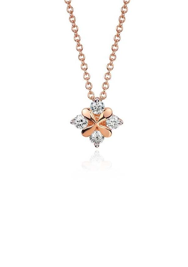 This one-of-a-kind petal-inspired pendant showcases round brilliant diamonds framed in 18k rose gold.