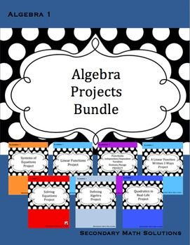 This is a bundle of seven Algebra Projects. You can buy all 7 here at a reduced price instead of buying them individually in my store. The seven projects included are: Defining Algebra ProjectFunctions, Independent/Dependent Variables, Domain/Range ProjectLinear Functions ProjectA Linear Function Written 3 Ways ProjectSystem of Equations ProjectQuadratics in Real-Life ProjectSolving Equations ProjectAll projects come with complete directions, student examples, and rubrics.