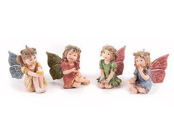 miniature fairy garden fairy holding a cute gem, four styles, adorable fairy, sweet fairy garden fairy figurine