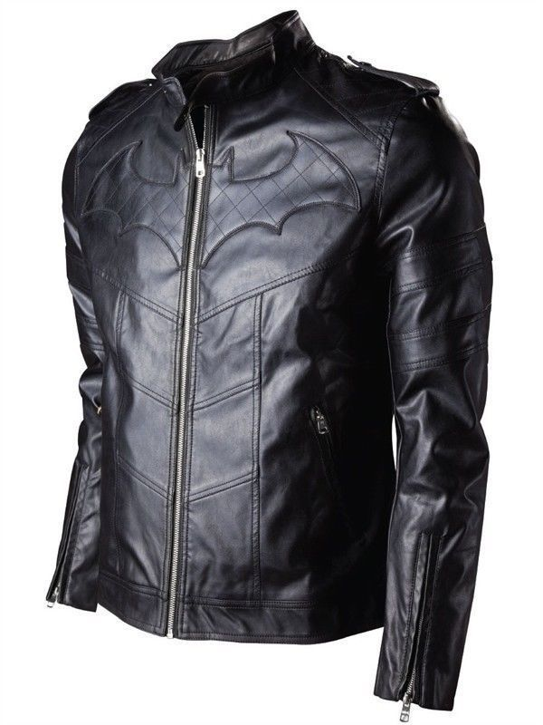 BATMAN ARKHAM KNIGHTS GAME BLACK REAL LEATHER JACKET #Handmade #Motorcycle