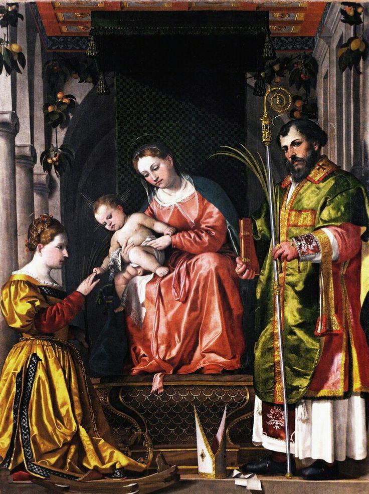 Matrimonio mistico di Santa  Caterina. 1530. Calvisano. Influenza di Moretto.
