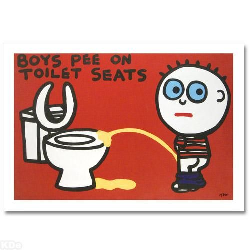 """""""Boys Pee on Toilet Seats"""" LIMITED EDITION Giclee on Canvas by Renowned Pop Artist Todd Goldman"""