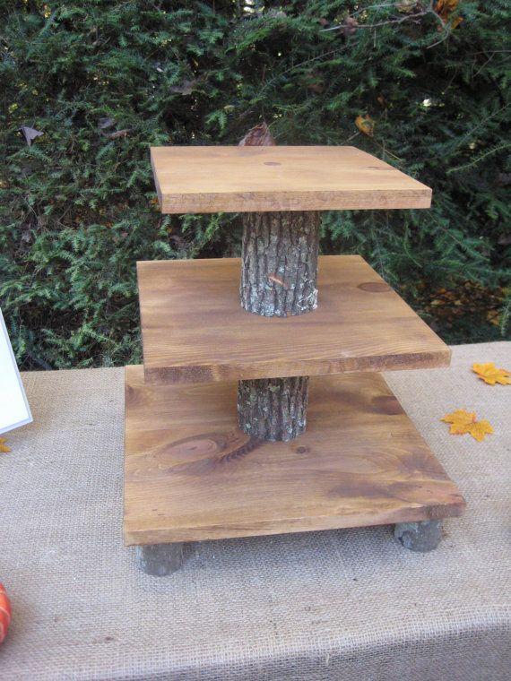Cupcake Stand Rustic Wedding Decor Log Slice by YourDivineAffair
