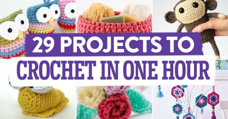 29 Projects To Crochet In One Hour compiled by TopCrochetPatterns.com