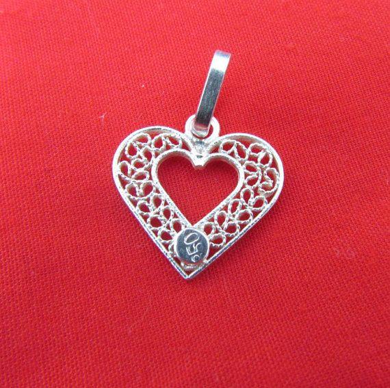 Pendentif en forme de coeur doux; Amour ou amitié coeur en forme de pendentifs avec colombien en filigrane; Coeur en argent sterling; Pendentif unique