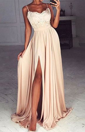 Simple A-Line Spaghetti Straps Split-Front Champagne Long Prom Dress