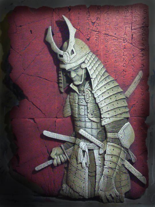 samurai relief taş kazıma samuray tabalkon sanat evi kabartma wall plaque