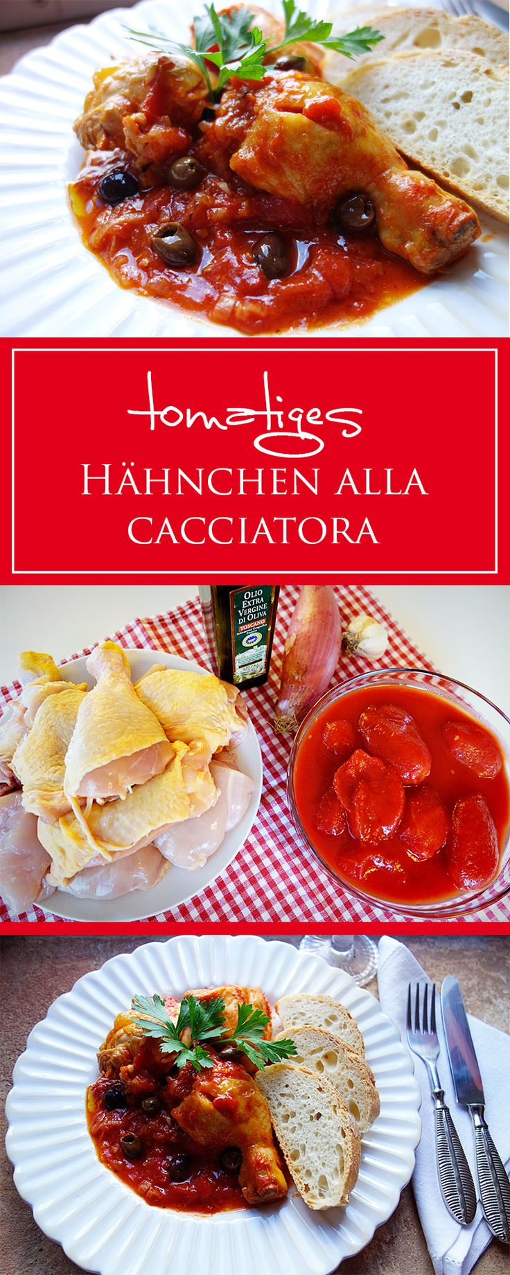 Hähnchen alla Cacciatora - ein einfaches Rezept für ein fruchtig-herzhaftes Hähnchen-Gericht für die ganze Familie. Toll zu Brot, Ofengemüse oder Püree! | 🍗🇮🇹🍴 | cucina-con-amore.de