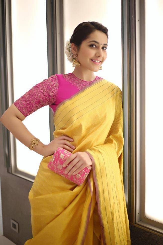Rashi Khanna Photos In Yellow Saree At Director Krish Marriage