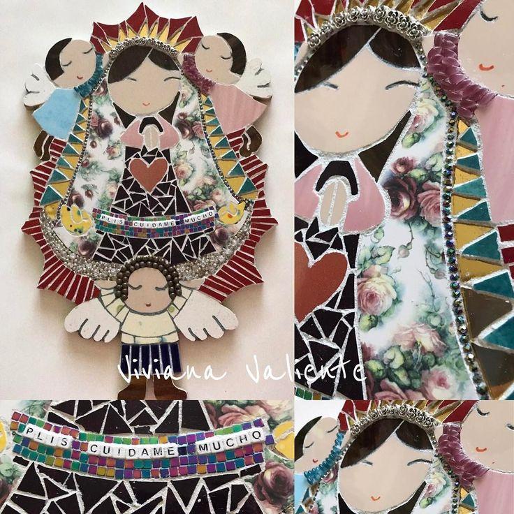 """27 Me gusta, 1 comentarios - Viviana Valiente M. (@vivitova) en Instagram: """"Virgencita Plis Cuídame Mucho, hecha a mano usando Ceramica, vidrios de colores, espejo dorado,…"""""""