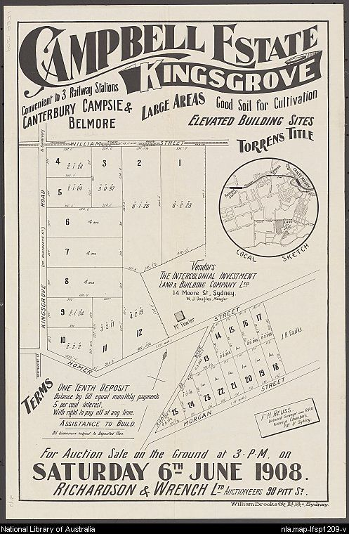 Campbell Estate, Kingsgrove: convenient to 3 railway stations, Canterbury, Campsie & Belmore. Sales plan for land bounded by Kingsgrove Road, and William and Homer Streets, Kingsgrove, New South Wales. Courtesy National Library of Australia.