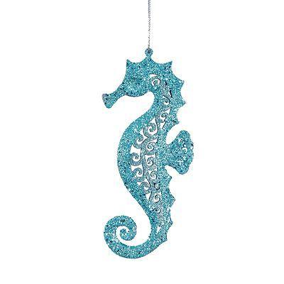 Teal Blue Glittery Coastal Seahorses Tropical Christmas Holiday Ornaments S 2 | eBay