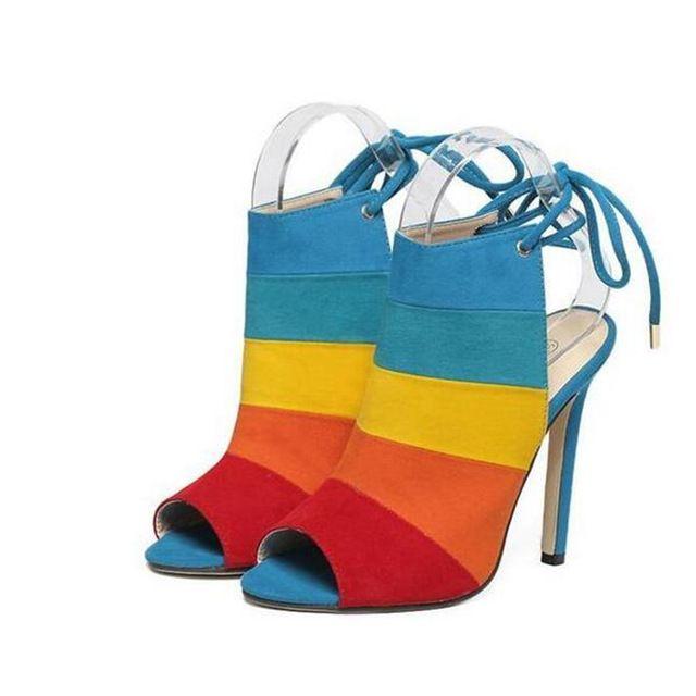 Новый Стиль женская Сексуальная Кружева многоцветный Из Высокие каблуки Peep Toe Сандалии вьетнамки Женские знаменитости Насосы Обувь желтый