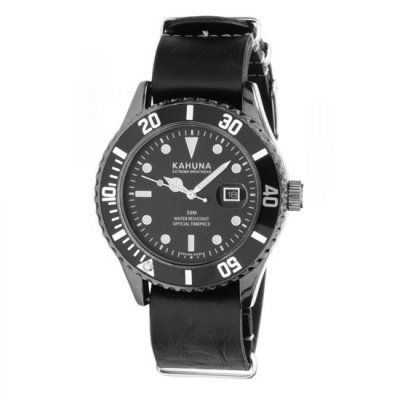 Kahuna - Men\'s Black Leather Strap Black Dial Watch - KUS-0108G - RRP: £39.95 - Online Price: £37.00