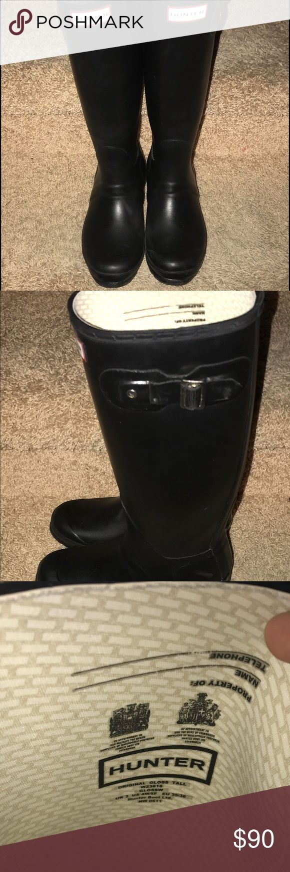 Women's Hunter tall original boots Black Excellent condition. Just one size too small. Size 5 women's. Tall black original welly boot. Hunter Boots Shoes Winter & Rain Boots