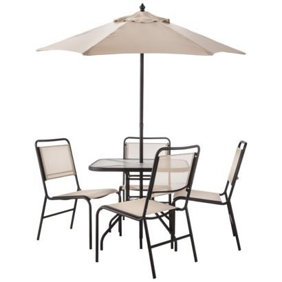 Room essentials oakview 6 piece sling patio dining for Dining room essentials
