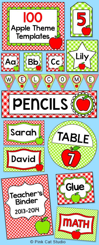Create a fun and cohesive Apple theme classroom with this value packed set of editable templates. The only limit is your imagination for what you can make to decorate your room. This value packed set includes over 100 pages of full color template designs that can be used for posters, signs, labels, stickers, binder covers, newsletters, certificates and anything else you can think of! By Pink Cat   Studio