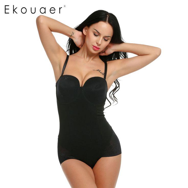 Ekouaer Women Body Shaper with Bra Underwear Waist Trainer Slimming Bodysuits Waist Control Shaper Lace Hot Sale Shaperwear