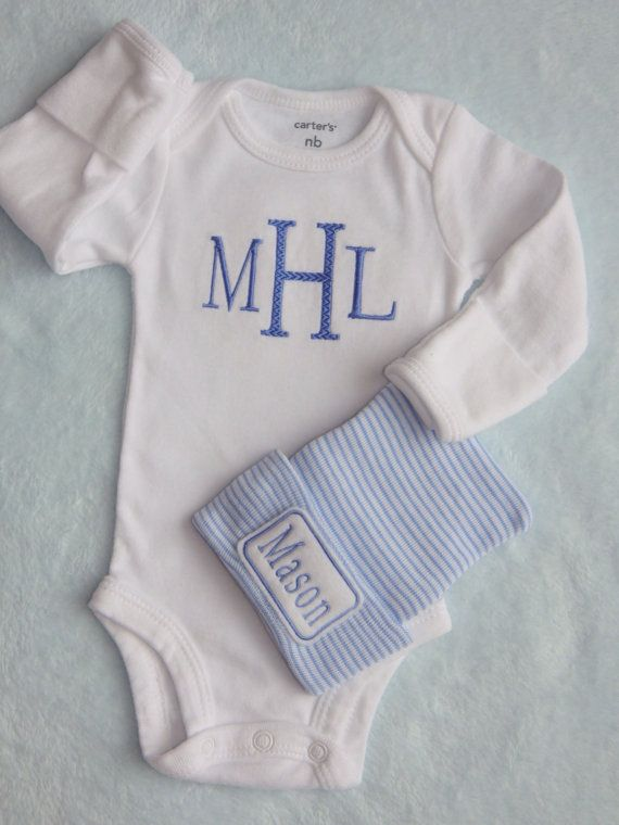 Newborn Hospital Outfit Newborn Boy Coming Home  Babys Monogram Embroidered on Onesie Center Letter has zigzag texture Short or Long Sleeve with cuff  Newborn Hospital Hat with Babys Name  We start with beanies from a company that supplies them to many hospitals Your baby will be wearing the same hat that hospitals have chosen for a babys delicate skin. Then we embellish them to add personality to your babys special hat.  xxxxxxxxxxxxxxxxxxxxxxxxxxxxxxxxxxxxxxxxxxxxxxx  PLEASE COPY THE…
