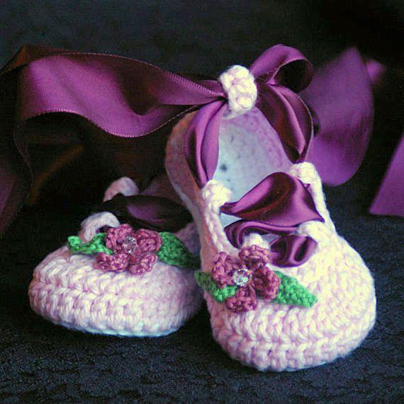 baby booties crochet pattern ballerina