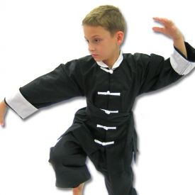 The Kids Kung Fu Costume is perfect for any child trying to show off his or her martial arts talents this Halloween.  Unlike other costumes, this Kung Fu costume includes a real traditional Kung Fu uniform that you kid could actually wear to a martial arts class.  It also includes a black cloth sash to prove that your child has developed the skills necessary to be a Kung Fu master. The Kids Kung Fu Costume Includes:  Traditional Kung Fu Uniform (Pants & Jacket)- Not a Cheap Costume Cloth Bl…