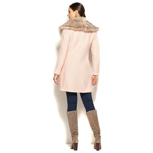 IMAN Platinum Boucle City Coat with Removable Faux Fur Collar - Serenity Blue