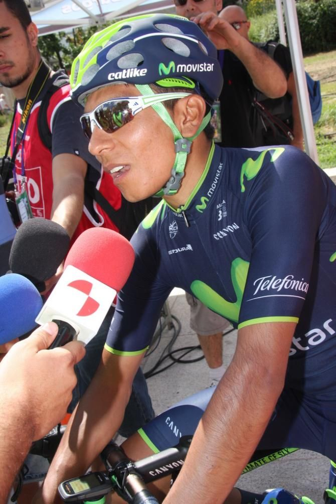 Vuelta a Burgos 2014 - Day 1: Burgos - Burgos 143km - Nairo Quintana (Movistar Team), back in Europe after some months working in Colombia. He did a good job today setting up Lobato for the spri...