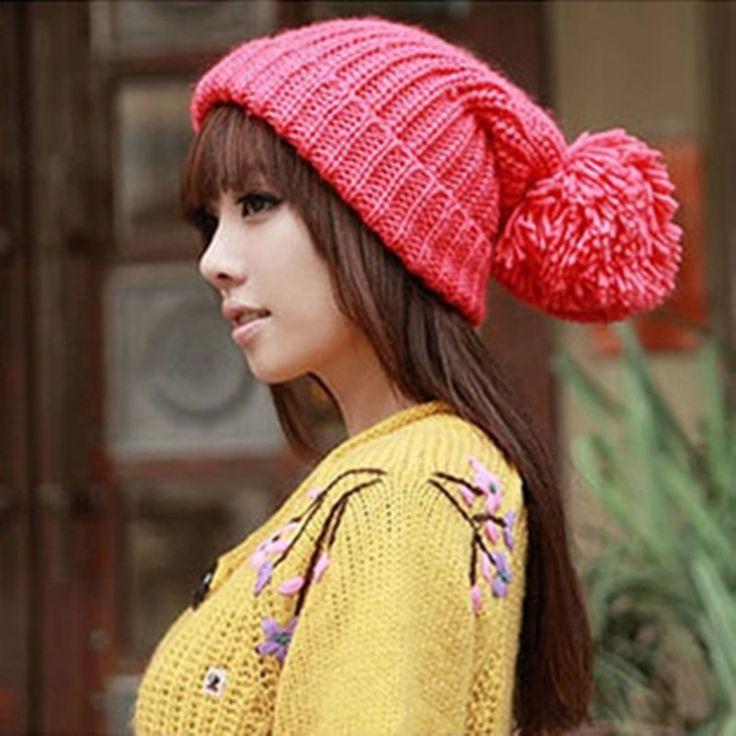 新しいファッションデザイナー特大女性の冬前かがみニットキャップ暖かいカフbeanie色ウールかぎ針編みスキー帽子(China (Mainland))