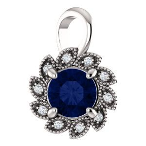 Celebrate September Birthdays with this Chatham® Created Blue Sapphire & Diamond Pendant. Click through for product details OR to locate a jeweler near you.