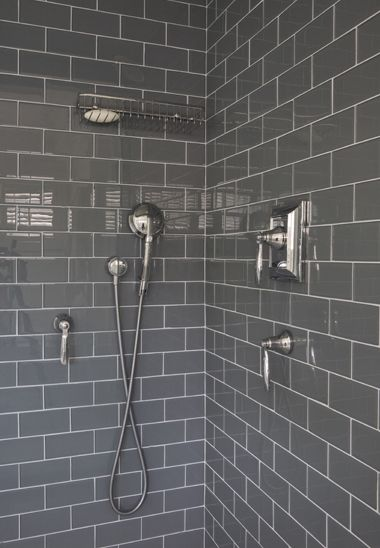 grey shower tile - bathroom