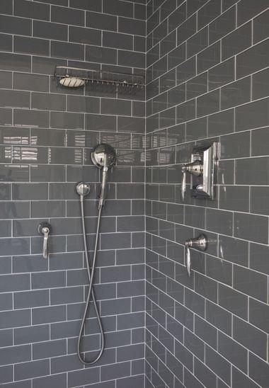 grey subway tile. LOVE