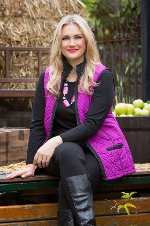 6610 Quilted Vest - This quilted reversible vest is a Swish Fashion best seller. Perfect in winter for casual wear, this vest comes in three fantastic colours; Cobalt (Royal Blue), Magenta (Pink), and Mocha (light brown). Wear this vest over a black long sleeve shirt. Features quilted detailing, two pockets at the front and reversible sleeveless design.