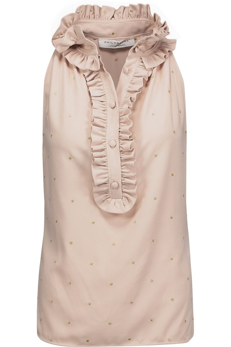 Shop on-sale Philosophy di Lorenzo Serafini Ruffle-trimmed metallic embroidered crepe top. Browse other discount designer Tops & more on The Most Fashionable Fashion Outlet, THE OUTNET.COM