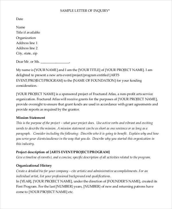 Letter Of Inquiry Sample Grant from i.pinimg.com