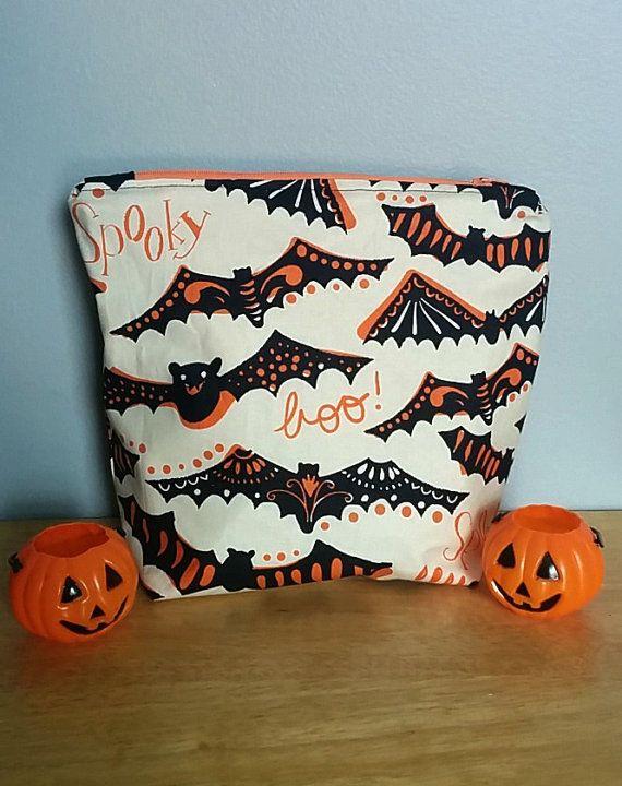 Spooky Halloween Bat Zipper Pouch by GraveEndeavours on Etsy