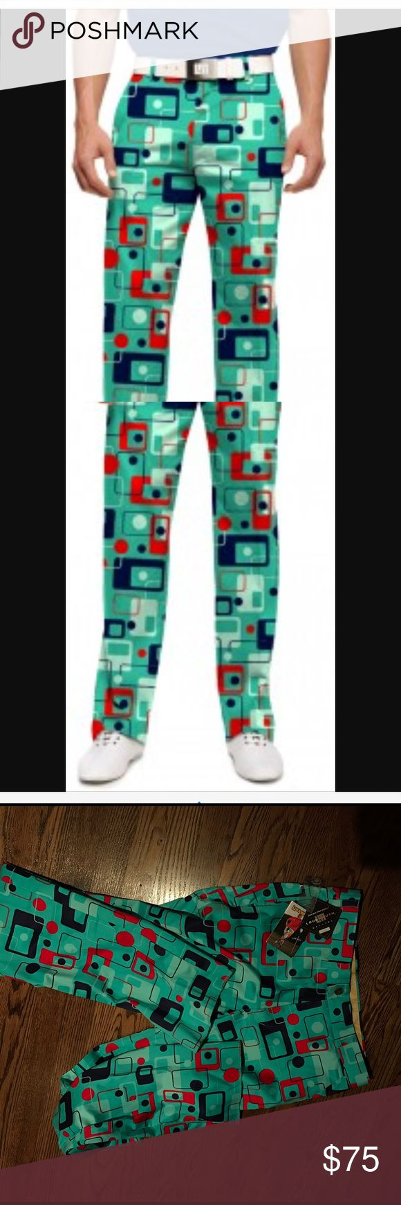 "Men's NWT LOUDMOUTH golf pants NWT Men's SZ 30 waist Unhemmed ""Jon Dalys LOUDMOUTH"" Golf Pants   Print is ""8 track"" and they're a colorful and fun pattern. loudmouth Pants Chinos & Khakis"
